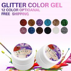 1pcs 12 color Nail  Mix Glitter  Sheet Color UV Builder Gel Nail Art Tips Shiny gel Cover Extension Manicure