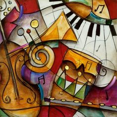 Modern Abstract Music Oil Painting for Children Room Decoration Wall Art Painting on Canvas Hand Painted - Arte Jazz, Jazz Painting, Wal Art, Art Moderne, Art Plastique, Canvas Art Prints, Big Canvas, Art Lessons, Piano Lessons