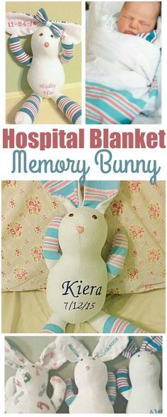 Adorable memory bear or bunny made from baby's hospital blanket. Perfect baby keepsake for new moms. affiliate link #babystuffnewmoms