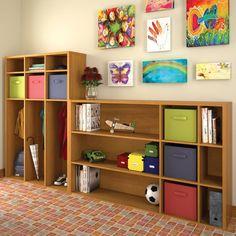 School Child Kid Teen Wall Room 2 Piece Bookcase Set 6 Colored Baskets Storage