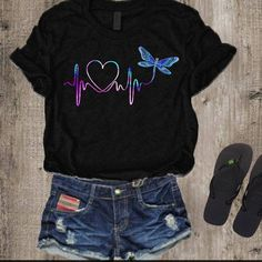 The Bigchartel Love Butterfly T-shirt Love Butterfly T-shirt Simple Shirts, Cute Shirts, Cute Shirt Designs, T Shirt Painting, Aesthetic Shirts, Shirt Style, Cute Outfits, T Shirts For Women, Fashion Outfits