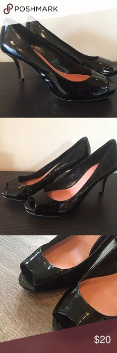 Vince Camuto patent leather black peep toe heels Vince Camuto patent leather black peep toe heels, excellent condition. Size 9. Worn once but too big. No wear on soles, very clean. Vince Camuto Shoes Heels
