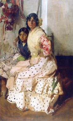 Pepilla the Gypsy and Her Daughter - 1910 by Joaquin Sorolla (spanish painter) Spanish Painters, Spanish Artists, Spanish Gypsy, Getty Museum, Portrait Art, Portraits, Beautiful Paintings, Love Art, Oeuvre D'art