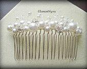 Pearl Crystal comb, Bridal Headpiece, Wedding hair piece, Swarovski white or ivory pearls, Beaded comb, Veil attachment, Tiara, Fascinator. $26.00, via Etsy.