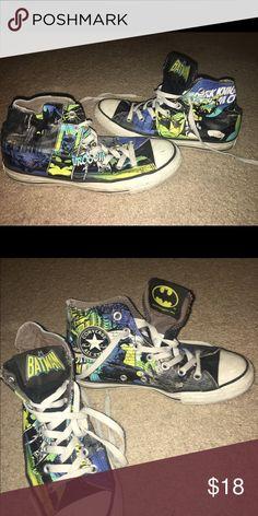 Distressed Batman Converses, size 5 Worn, Distressed, Batman Converse Sneakers, Size: 5 Journeys Shoes Sneakers