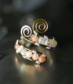Multi-colored Moonstone Vintage Bronze Copper Ring by Moss & Mist Jewelry | Flickr - Photo Sharing!
