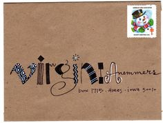 "the envelopes: krafty virginia"" (August from pushingtheenvelopes.""pushing the envelopes: krafty virginia"" (August from pushingtheenvelopes. Envelope Lettering, Calligraphy Envelope, Envelope Art, Envelope Design, Calligraphy Fonts, Script Fonts, Mail Art Envelopes, Addressing Envelopes, Fancy Envelopes"