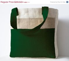 Burlap Moss Green Color block Market Tote  by AmoreBeaute