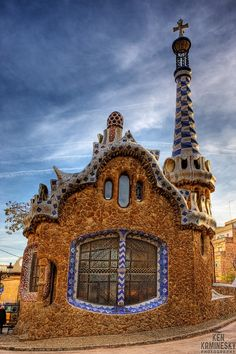 .House in Park Güell designed by Antoni Gaudi, Barcelona, Spain