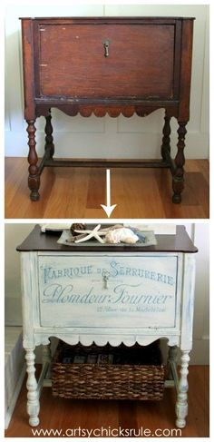 French Fabulous Cabinet Makeover Before & After - Front -#chalkpaint -artsychicksrule.com