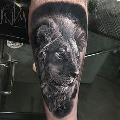 f7e9a492a Realistic Lion Head Tattoo On Arm by Maksims Zotovs Lion Tattoo Design,  Tattoo Designs Men