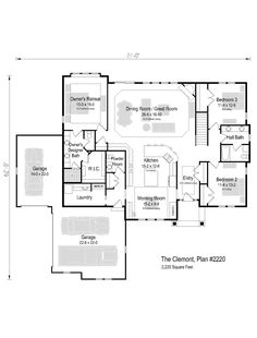 The Clemont, Plan 2220 Wisconsin, Ranch, House Plans, New Homes, Floor Plans, Flooring, How To Plan, Bedroom, Building