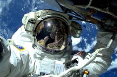 """Terry W. Virts on Twitter: """"My #spacewalk lead #AstroButch, with me upside down in his visor. http://t.co/7jEklIQSF2"""""""