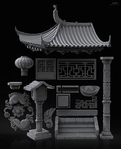 chinese romanyk zbrush yuriy pack Chinese pack YURIY ROMANYK You can find Zbrush and more on our website Chinese Buildings, Ancient Chinese Architecture, China Architecture, Futuristic Architecture, Architecture Office, Environment Concept Art, Environment Design, Zbrush Environment, Diorama