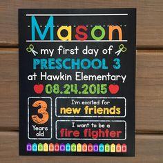 FIRST DAY of School Chalkboard Sign Preschool Kindergarten