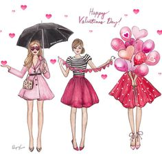valentine's day shared by Sasha on We Heart It Best Friend Drawings, Girly Drawings, Illustration Mignonne, Illustration Sketches, Happy Galentines Day, Karten Diy, Foto Fashion, Fashion Sketches, Illustrators