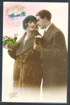 PM060-ART-DECO-FASHION-COUPLE-LADY-FUR-COAT-KITSCH-FRENCH-Tinted-PHOTO-pc