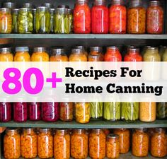 If you harvest more fruits and vegetables than you can immediately consume, here comes the rescue. Tipnut collected over 80 recipes for home canning assorted Home Canning Recipes, Canning Tips, Cooking Recipes, Jar Recipes, Recipies, Canning Food Preservation, Preserving Food, Canning Vegetables, Fruits And Vegetables