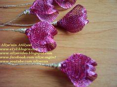 TİTANYUM NAKIŞI ÖĞRENİYORUM - e1y3 - Blogcu.com Ribbon Jewelry, Lace Jewelry, Beaded Flowers, Fabric Flowers, Fabric Flower Tutorial, Mesh Ribbon, Gold Work, Wire Mesh, Handmade Flowers