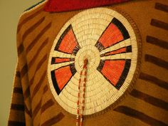 Assiniboine war-shirt, quillwork detail.