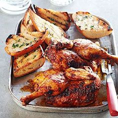 Beer Can Chicken  Ingredients 2 teaspoons packed brown sugar 2 teaspoons paprika 2 teaspoons salt 1 teaspoon dry mustard 1/2 teaspoon ground black pepper 1/2 teaspoon dried thyme, crushed 1/4 teaspoon garlic powder 1 12 ounce can beer 1 3 1/2 pound whole broiler-fryer chicken 2 tablespoons butter, softened 1 lemon wedge