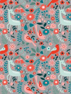 Nature Pattern by Kirsti Davidson. Pretty Patterns, Patterns In Nature, Beautiful Patterns, Nature Pattern, Animal Patterns, Textile Prints, Textile Patterns, Textiles, Scandinavian Folk Art