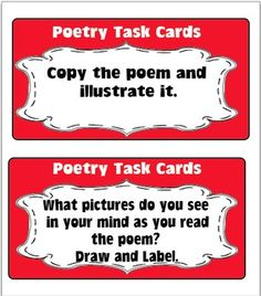 Free: Differentiated Poetry Task Cards- Color coded for ease/difficulty. Students can choose the color right for them! Teaching Poetry, Teaching Language Arts, Teaching Writing, Teaching Resources, Teaching Ideas, Reading Workshop, Reading Skills, Reading Strategies, 4th Grade Reading
