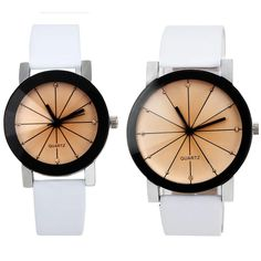 Men and Women Quartz Dial Clock Leather Wrist Watch Round Case very low price! $10.10 #style #watches #fashion #shoppingonline