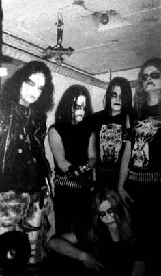 Mayhem and Darkthrone at the infamous Helvete record store in Oslo, Norway. Black Metal, Mayhem Band, Hard Rock, Kerry King, Extreme Metal, Sombre, Band Photos, Thrash Metal, Best Black