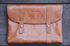 Jeff Thomsen Collection - Tablet and Document Cases, hand crafted, genuine leather - DOC005 Tan Two tone with a nice shine