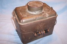 Vintage Primitve Antique Coal Miner Metal Tin Lunch Box Pail Bucket Wooden Bail