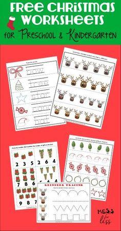 Christmas Worksheets Kindergarten, Preschool Christmas Crafts, Christmas Math, Christmas Activities For Kids, Christmas Themes, Preschool Worksheets, Christmas Printables, Free Printable Christmas Worksheets, Free Printables