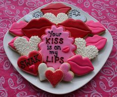 Lips and hearts 'SWAK' Valentines day cookies