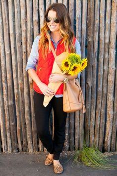 I love the puffer vest (and the sunflowers :D)- not sure I'd wear such bright colors with leopard print flats...