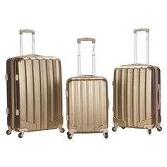 Buy the Rockland Luggage Metallic 3 Piece Hardside Spinner Set at eBags - Travel in style with your clothing and essentials packed inside this 3 piece hardside luggage set fr