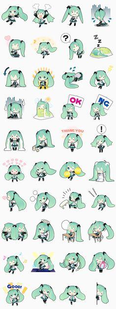"""Famosa en todo el mundo. Hatsune Miku, ídolo virtual, hace su debút en LINE. Ilustraciones creadas por """"Putidevil""""."""