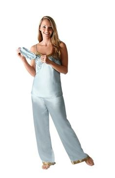 Classic Satin Pajamas Set: Cami Top, Pants and Sleep Mask, Sizes Small to 3X $34.99 - $39.99