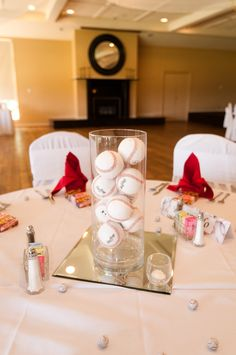 Amusing baseball theme wedding centerpieces party with white seat Baseball Wedding Centerpieces, Baseball Centerpiece, Wedding Decorations, Party Centerpieces, Wedding Wishes, Our Wedding, Wedding Ideas, Wedding Reception, 2017 Wedding