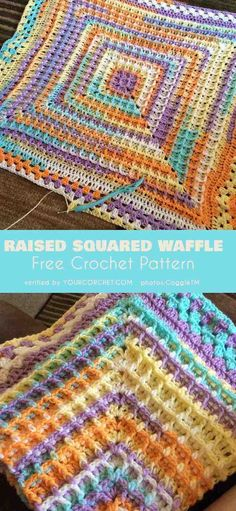 Crochet Patterns Stitches Raised Squared Waffle Free Crochet Pattern and Video Tutorial Crochet Stitches Patterns, Afghan Crochet Patterns, Crochet Squares, Knitting Patterns, Free Knitting, Crochet Baby Blanket Free Pattern, Free Crochet, Crochet Crafts, Crochet Projects