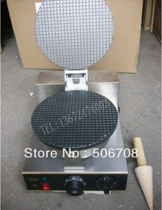 (210.00$)  Buy here  - Commercial Use Non Stick 110v 220v Electric 21cm Round Ice Cream Waffle Cone Maker Iron Baker Machine Mold Plate