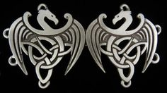 The Celtic Dragon Cloak Clasp is made with two Celtic dragons that come together. Each dragon is 1 3/4 inches across and 1 3/4 inches from top to bottom and tog