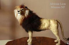 Lion needle felting lion african lion felted wild big cat