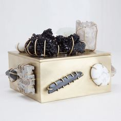 KELLY WEARSTLER | BAUBLE BOX. One of a kind burnished brass box adorned with semi precious stone