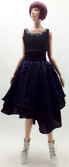"Chiffon Dress with Beads (Black) ''The Stars Fall "" (OS-090) OUGI SAIGON order-made studio for 1/3 scale Doll"