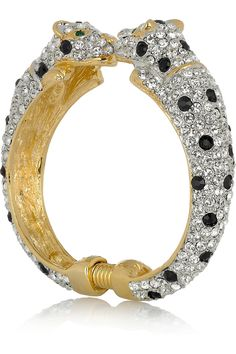 KENNETH JAY LANE 22-karat gold-plated crystal jaguar cuff