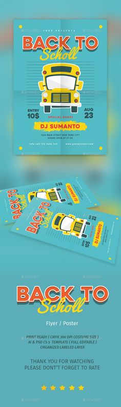 Back To School Flyer Template PSD, AI Illustrator. Download here: https://graphicriver.net/item/back-to-school-vol1/17219485?ref=ksioks
