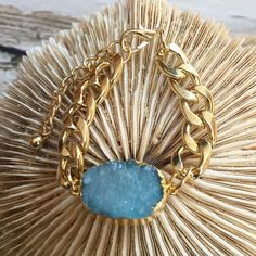 Sale  T&J Designs Gold Blue Druzy Stone Chain New Free Spirited T & J Designs Gold Dipped Blue Druzy Stone Chain Bracelet.  Nickel Free, Lead Free. Material Content: Gold Plated Base Metals, Natural Druzy Stone.  Price Firm Unless Bundled.  Stock Photos courtesy of T & J Designs. T&J Designs Jewelry Bracelets