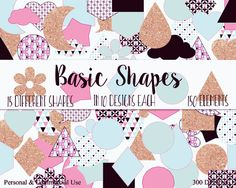FUN SHAPES CLIPART Commercial Use Clip Art Blush by ClipArtBrat