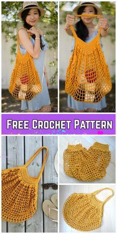 Knitting bag pattern free handbags crochet tote 59 Ideas for 2019 Bag Crochet, Crochet Market Bag, Crochet Shell Stitch, Crochet Gratis, Crochet Purses, Free Crochet, Crochet Handbags, Purse Patterns Free, Crochet Purse Patterns