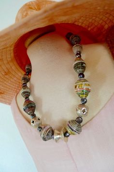 Paper beads and sterling silver statement necklace! Paper Jewelry, Resin Jewelry, Beaded Jewelry, Beaded Necklace, Paper Beads, Jewellery, Gold Jewelry, Silver Necklaces, Silver Earrings